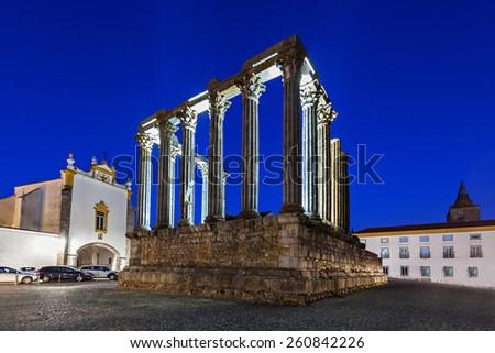 The Roman Temple of Evora (Templo romano de Evora), also referred to as the Templo de Diana is an ancient temple in the Portuguese city of Evora  - stock photo