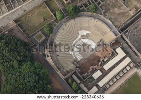 the Roman theater restored in the ancient city POMPEII, aerial view, naples, archeologic ruins of Pompeii in Italy - stock photo