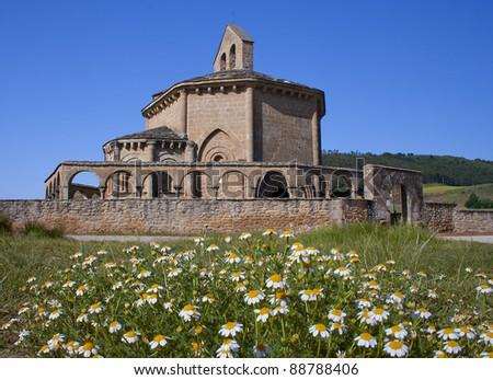 The Romanesque Church of Santa Maria de Eunate, is located in Muruz¡bal, Navarra - stock photo