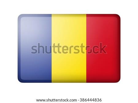 The Romania flag. Rectangular matte icon. Isolated on white background. - stock photo