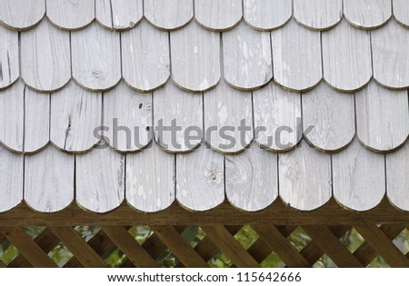The roof is made ??of wood. - stock photo
