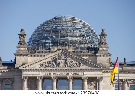 The roof of Reichstag building in Berlin, Germany - stock photo