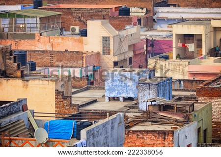 The roofs of the poor houses. Agra, India - stock photo