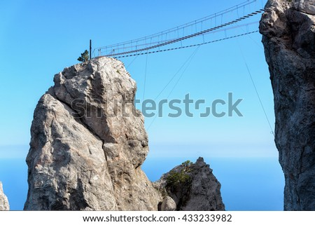 The rope bridge on the Mount Ai-Petri. It is one of the highest mountains in the Crimea and tourist attraction.