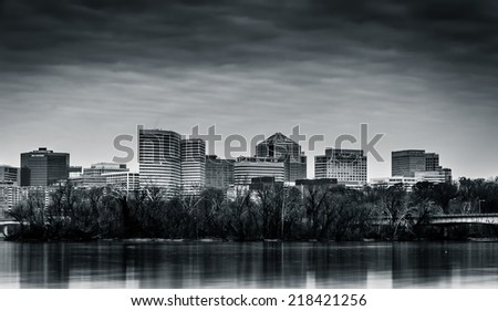 The Rosslyn Skyline, seen across the Potomac River from Washington, DC. - stock photo