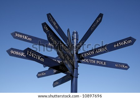 the rotary waterfront place marker a signpost symbolising cape towns place in the world near clock tower square v&a waterfront cape town western cape province south africa - stock photo