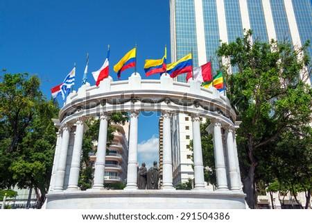 The rotonda in Guayaquil, Ecuador is a monument to Simon Bolivar and Jose de San Martin - stock photo