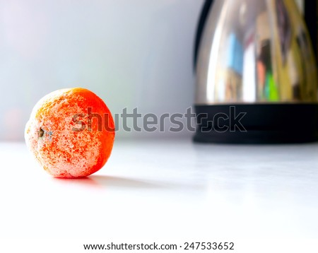 The rotten mandarin. - stock photo
