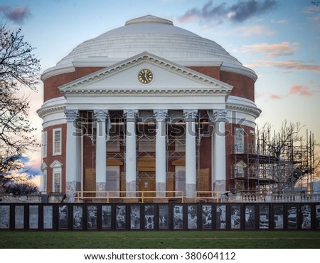 The Rotunda -- near completion of a multi-year renovation project. Located in Charlottesville, VA at the University of Virginia   - stock photo