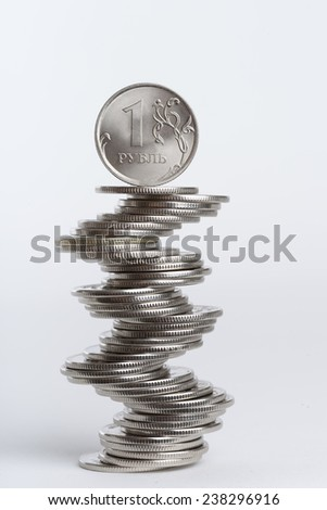 The rouble - russian main coin. Russian national currency. - stock photo