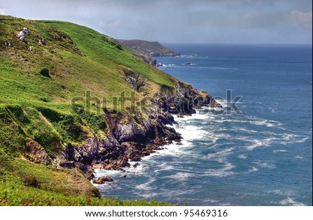 The rough and rocky coastline of Brittany in France looks so impressive - stock photo