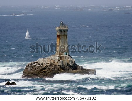 the rough and rocky coastline of Brittany with the famous point de Raz , France - stock photo