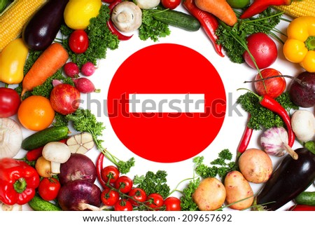 The round frame made of vegetables. Isolated on a white background
