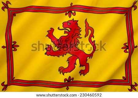 The Royal Banner of the Royal Arms of Scotland or more commonly the Lion Rampant of Scotland. Used historically by the King of Scots, the banner differs from Scotland's national flag, the Saltire. - stock photo
