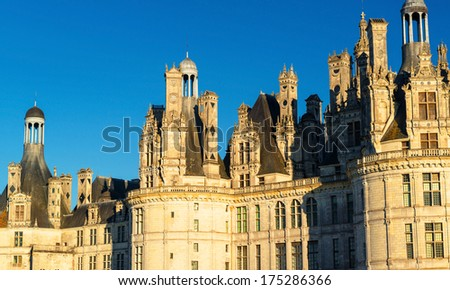 The royal Chateau de Chambord, France. This castle is located in the Loire Valley, was built in the 16th century and is one of the most recognizable chateaux in the world - stock photo
