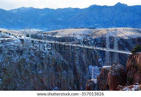 The Royal Gorge Bridge is a tourist attraction near Canon City, Colorado.  Record of highest bridge in the world - stock photo