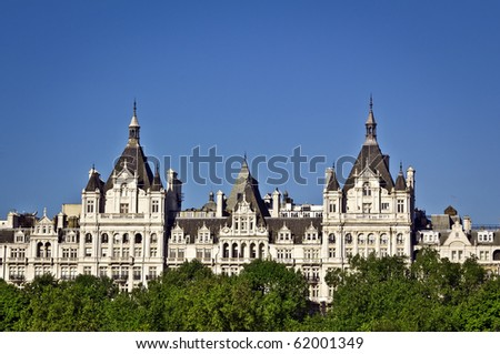 The Royal Horseguards originally built in 1884 in style of a French cheteau as the home of the National Liberal Club.Designed by Alfred Waterhouse. - stock photo