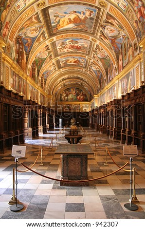 The royal library inside El Escorial, the Spanish royal palace just outside Madrid - stock photo