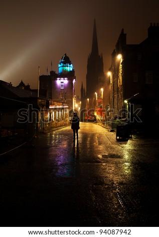 The Royal Mile, Edinburgh at night - stock photo
