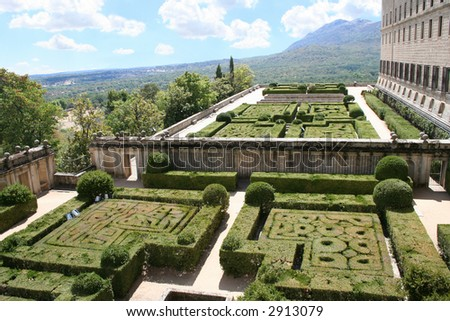 The Royal Monastery El Escorial, Spain. View at south-east surroundings of Escorial from the king's rooms.