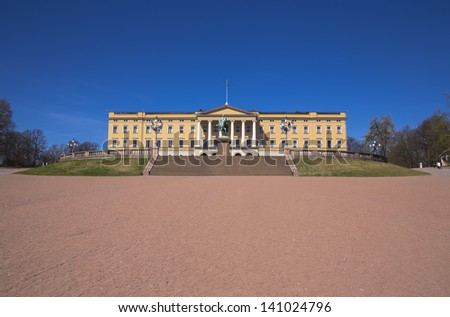 The Royal Palace and the square in front of it. Norway. Oslo - stock photo