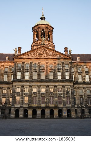 The Royal Palace in Dam Square, Amsterdam, in dawn light - stock photo