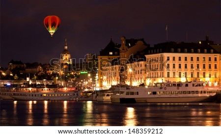 The Royal Palace in Stockholm at night  - stock photo