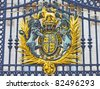 The Royal Seal in Buckingham Palace gate, London, England - stock photo