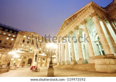The Royal Stock Exchange, City of London, UK, at night - stock photo