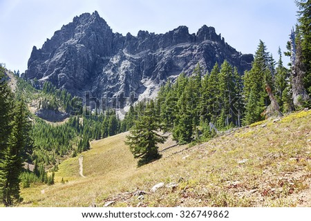 The rugged central portion of the Three Fingered Jack mountain in Central Oregon rises above an alpine meadow. - stock photo