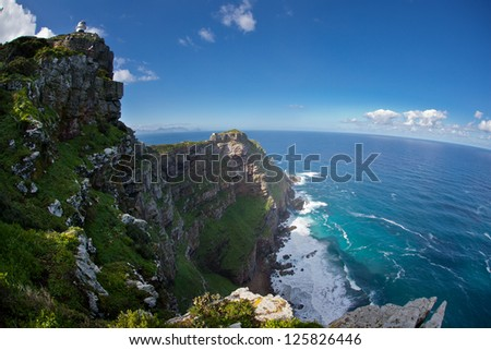 The rugged coastline at the southernmost tip of Table Mountain National Park in South Africa is gorgeous.  This park is extremely close to Cape Town. - stock photo