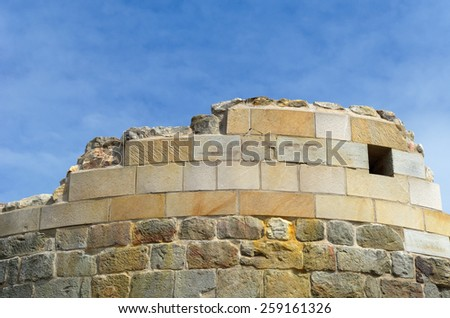 The Ruin Falkenburg in Teutoburger Forest near Detmold is the ruin of an old castle build in the 12th century. A wall is partly reconstructed./ The wall of a Ruin - Germany - stock photo