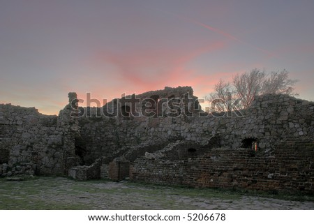 The ruin of the castle on Bornholm - stock photo