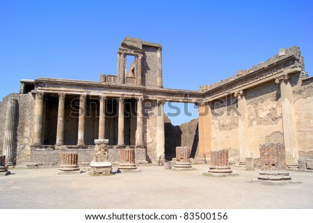 The ruined Roman Basilica of ancient Pompeii
