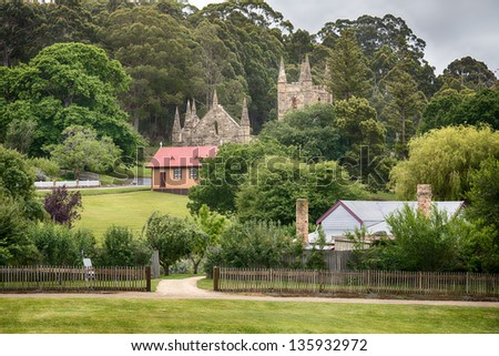 The ruins of a church at Port Arthur which began as a convict settlement in Tasmania Australia. - stock photo
