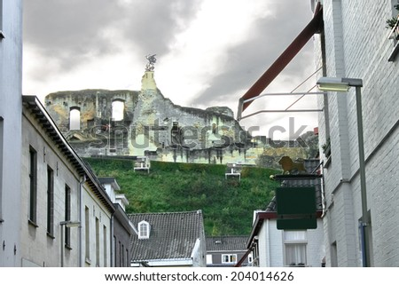 The ruins of an ancient castle in Valkenburg. Netherlands - stock photo
