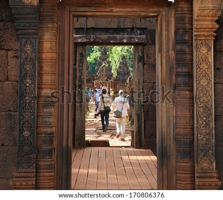 The ruins of Banteay Srei, Angkor Wat near Siem Reap, Cambodia. - stock photo