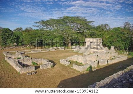 the ruins of Dzibilchaltun, the oldest Mayan city on Yucatan - stock photo