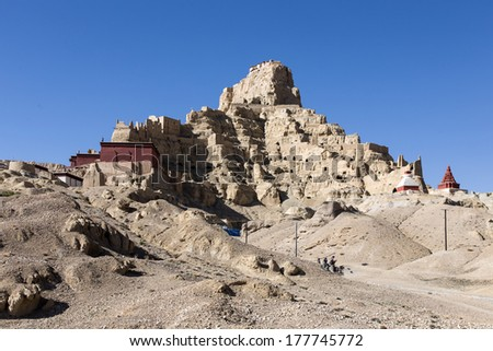 The ruins of Guge Kingdom are in west of tibet, which borders India to its south. It is in similarly reverential tones as the Mayan Civilization and Pompeii. - stock photo