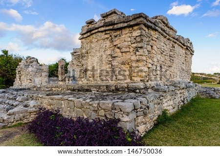 The ruins of mayan city Tulum, situated on cliffs, along the east coast of the Yucatan Peninsula on the Caribbean Sea in the state of Quintana Roo, Mexico - stock photo