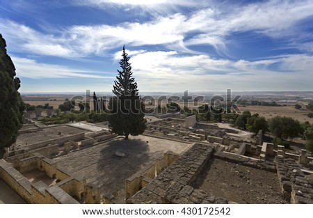 The ruins of Medina Azahara, a fortified Arab Muslim medieval palace-city near Cordoba, Spain - stock photo