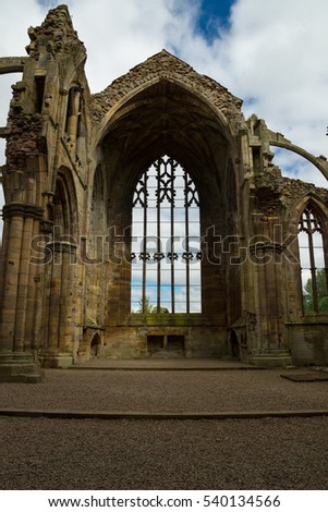 The Ruins of Melrose Abbey, Scottish Borders