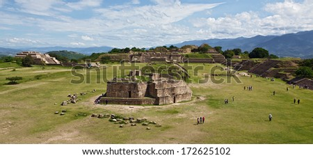 The ruins of Monte Alban, Oaxaca ( Mexico) - stock photo