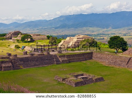 The ruins  of Monte Alban - Oaxaca, Mexico - stock photo