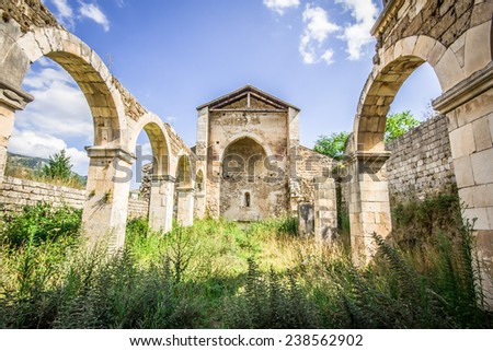 The ruins of old church - stock photo
