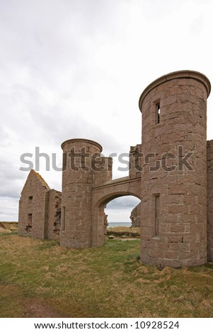 The ruins of Slains Castle, North of Aberdeen, Scotland - stock photo