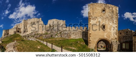 The ruins of Spis Castle (Slovak: Spissky hrad, Hungarian: Szepesi var; German: Zipser Burg) in eastern Slovakia form one of the largest castle sites in Central Europe.