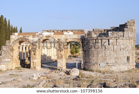 the ruins of the ancient city of Hierapolis, Pamukkale turkey