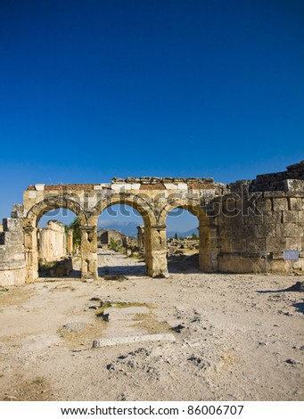 The ruins of the ancient city of Hierapolis, Pamukkale, Turkey