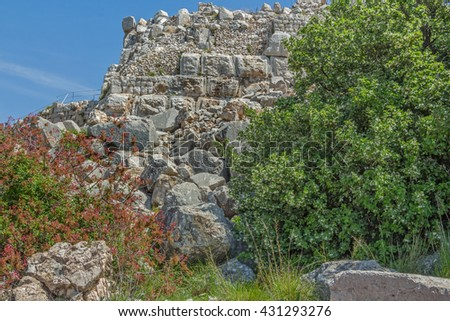 The ruins of the ancient fortress of Nimrod in Israel. - stock photo